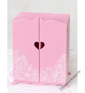 """Игрушка детская: шкаф с дизайнерским цветочным принтом (коллекция """"Diamond princess"""" розовый)."""