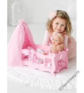 Игрушка детская: кроватка для кукол (колыбелька) с постельным бельем и балдахином розовый