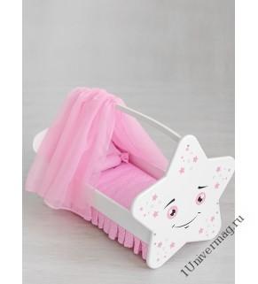 Игрушка детская: кроватка для кукол звездочка с постельным бельем и балдахином белый