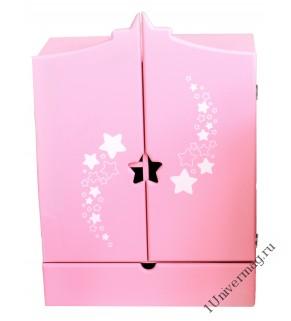 Игрушка детская: шкаф с дизайнерским звёздным принтом с выдвижным ящиком розовый