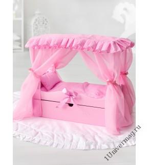 Игрушка детская: кроватка с царским балдахином, постельным бельем и выдвижным ящиком розовый