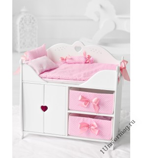 Игрушка детская: кроватка для кукол с постельным бельем и мягкими корзинами белый