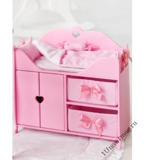 Игрушка детская: кроватка для кукол с постельным бельем и мягкими корзинами розовый