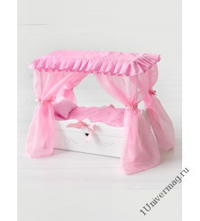 Игрушка детская: кроватка с царским балдахином, постельным бельем и выдвижным ящиком белый