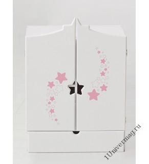Игрушка детская: шкаф с дизайнерским звёздным принтом с выдвижным ящиком белый