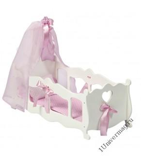 Игрушка детская: кроватка для кукол (колыбелыйька) с постельным белыйьем и балдахином белыйый