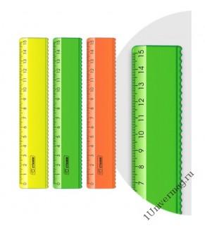Линейка 15 см с волнистым краем NEON микс